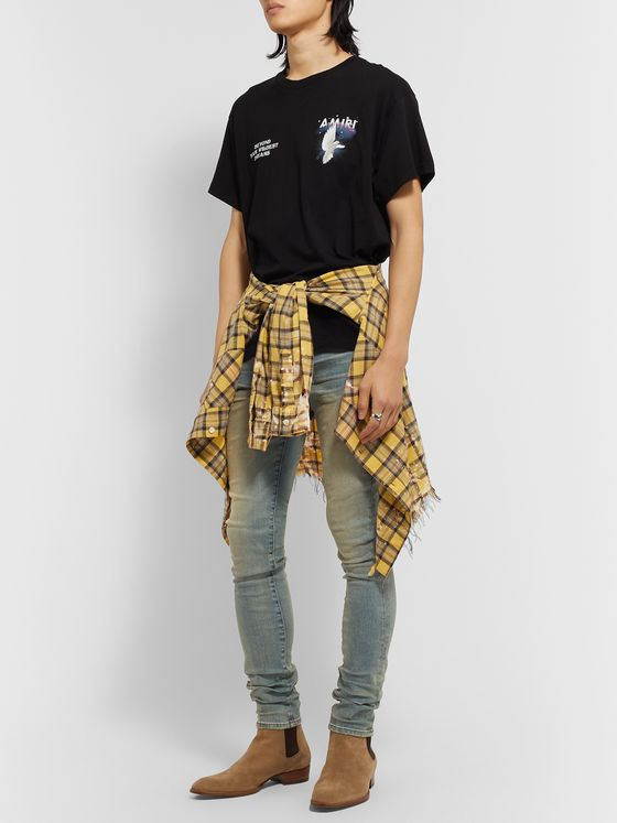 AMIRI Half Track Skinny-Fit Distressed Stretch-Denim Jeans