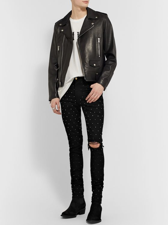 AMIRI Skinny-Fit Crystal-Embellished Distressed Denim Jeans