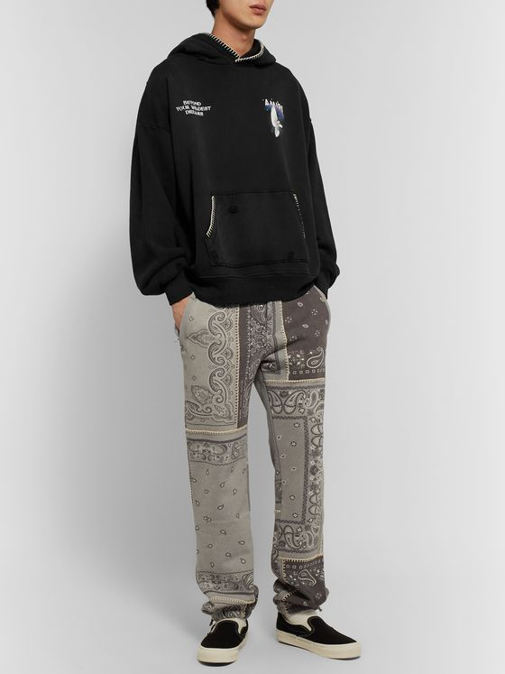 AMIRI Oversized Distressed Embroidered Printed Cotton-Jersey Hoodie