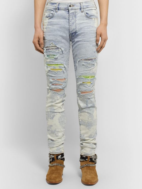 AMIRI Skinny-Fit Distressed Crystal-Embellished Stretch-Denim Jeans