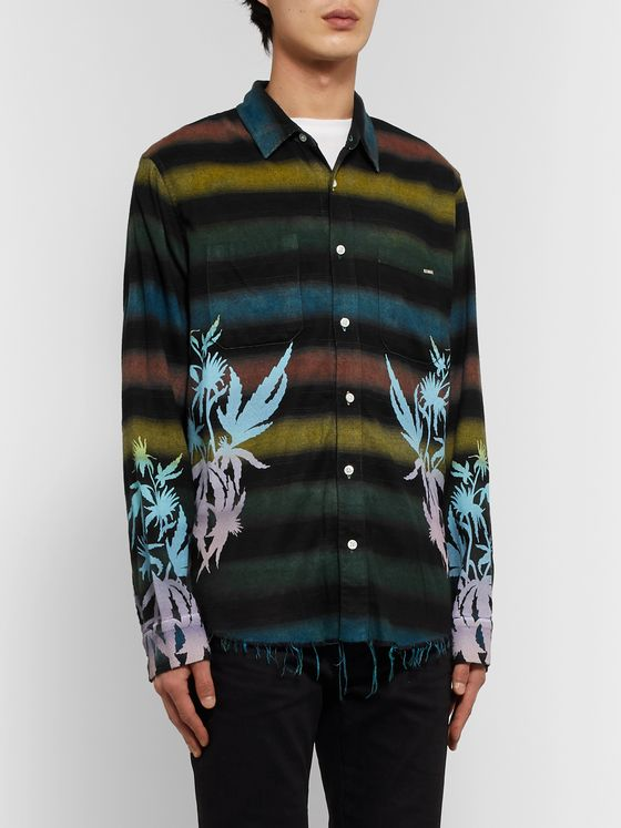 AMIRI Distressed Printed Embroidered Cotton-Blend Flannel Shirt