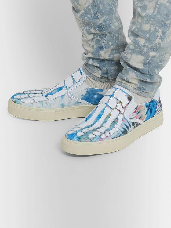 AMIRI Skel-Toe Tie-Dye Canvas and Leather Slip-On Sneakers