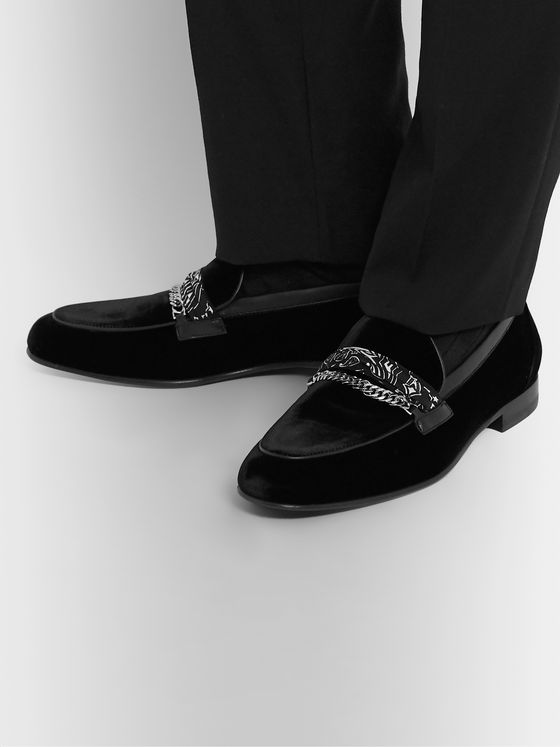 AMIRI Embellished Leather-Trimmed Cotton-Velvet Loafers
