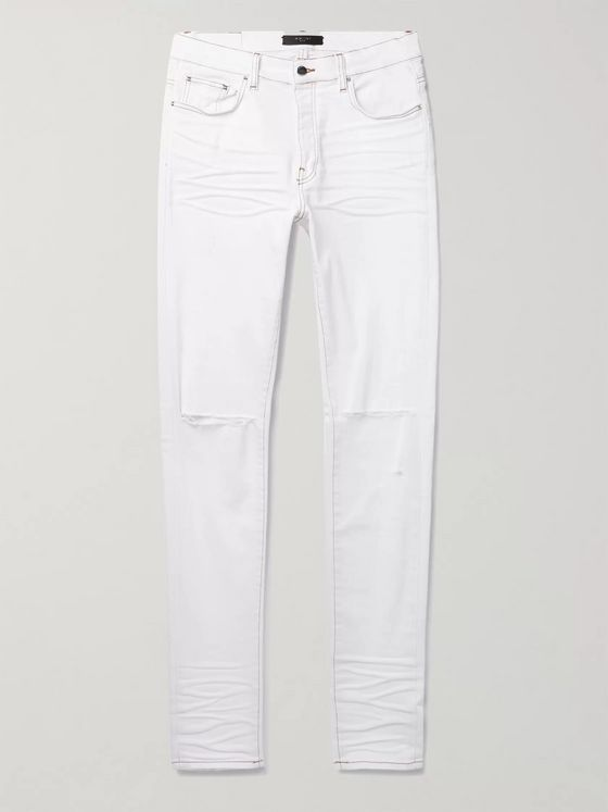 AMIRI Slash Skinny-Fit Distressed Stretch-Denim Jeans