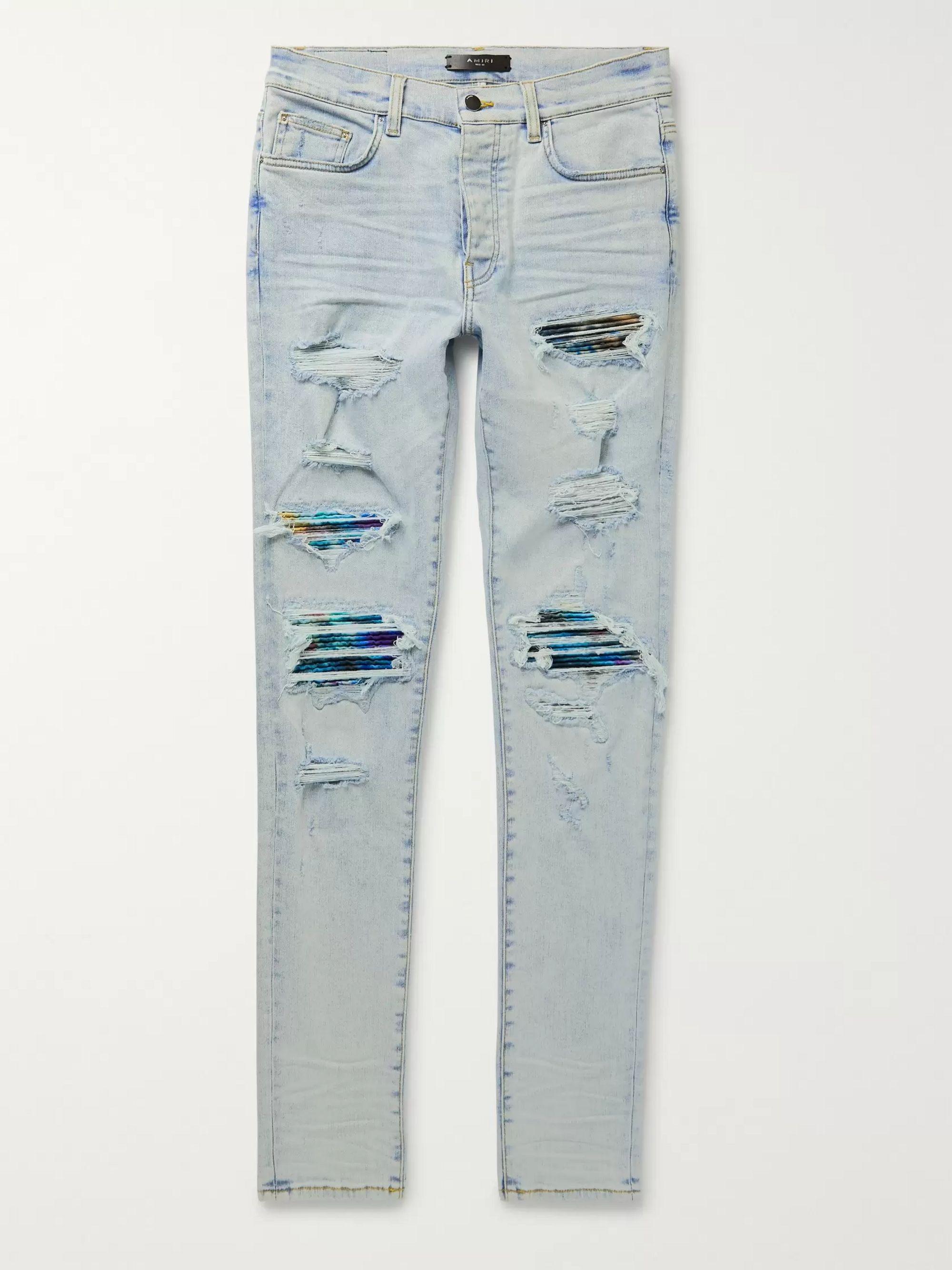 아미리 Amiri Light denim MX1 Skinny-Fit Panelled Distressed Stretch-Denim Jeans,Light denim