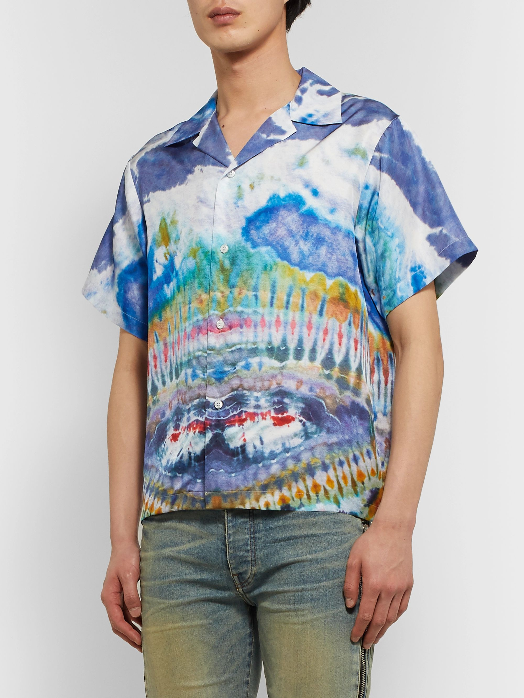 AMIRI Camp-Collar Tie-Dyed Silk-Twill Shirt