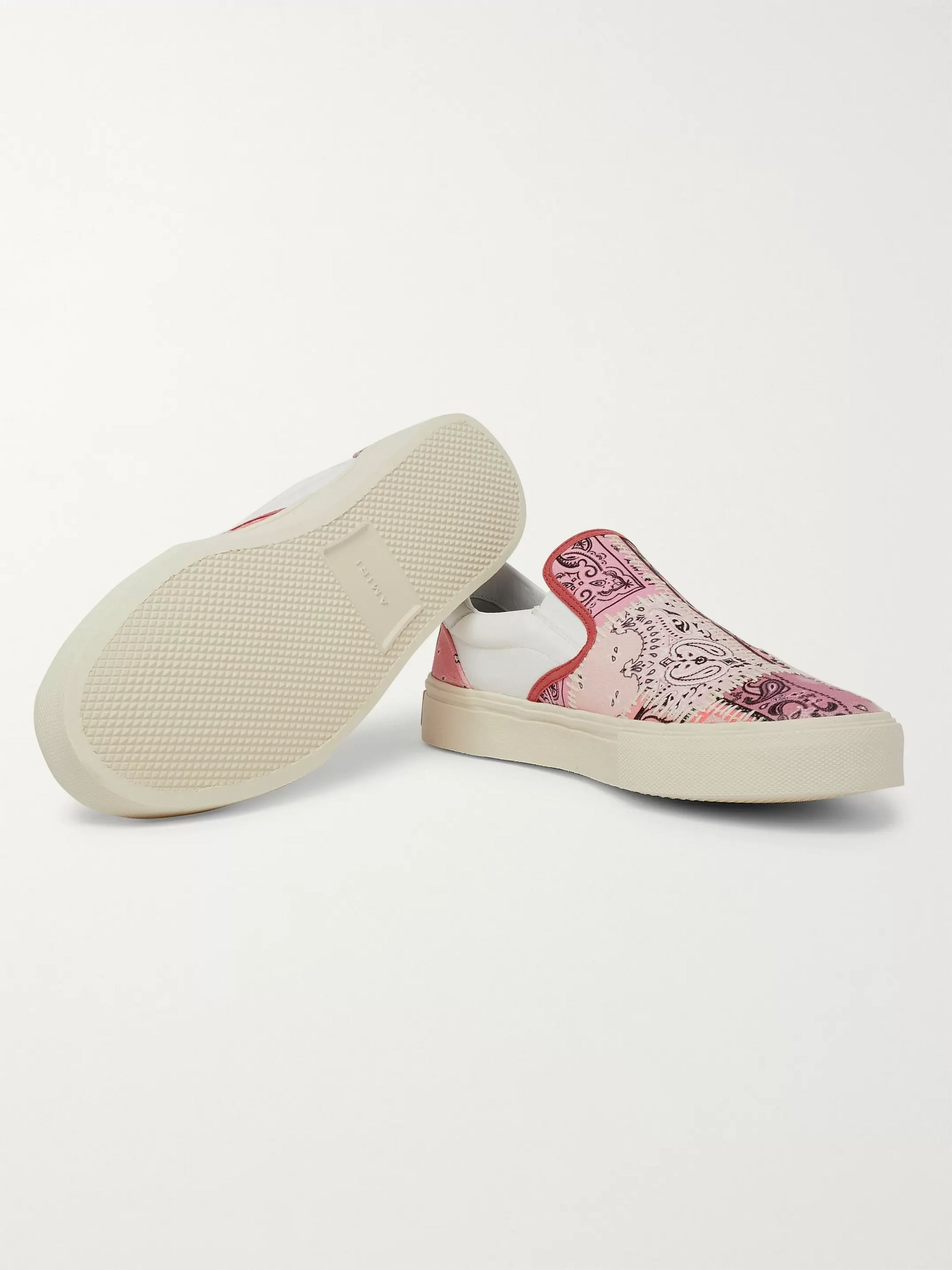 AMIRI Leather-Trimmed Bandana-Print Canvas Slip-On Sneakers