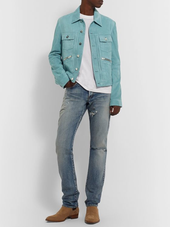 AMIRI Slim-Fit Suede Trucker Jacket