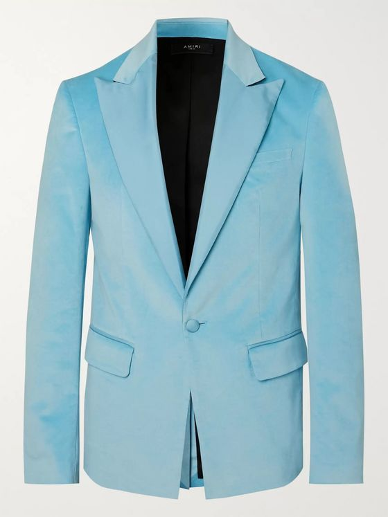 AMIRI Light-Blue Silk Satin-Trimmed Velvet Blazer