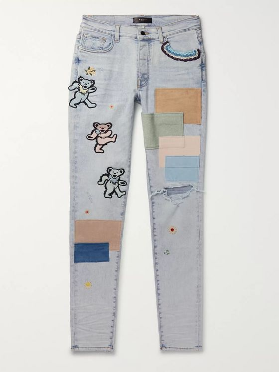 AMIRI Thrasher Skinny-Fit Appliquéd Distressed Denim Jeans