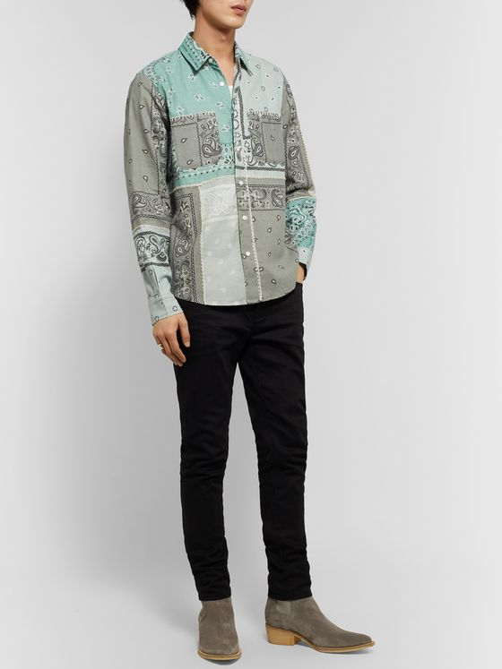 AMIRI Bandana-Print Cotton-Flannel Shirt