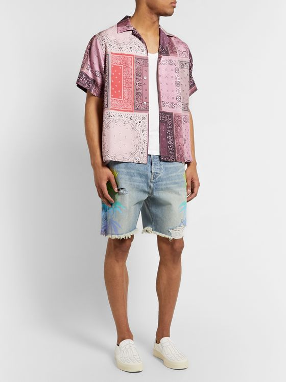 AMIRI Camp-Collar Bandana-Print Silk-Twill Shirt