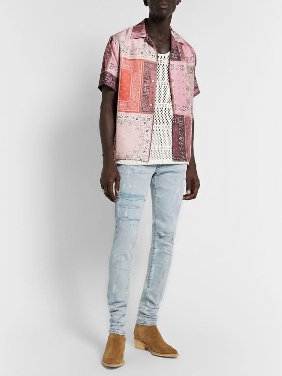 AMIRI Distressed Paint-Splattered Stretch-Denim Jeans