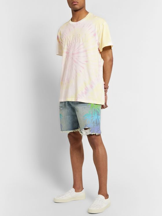 AMIRI Logo-Flocked Tie-Dyed Cotton-Jersey T-Shirt
