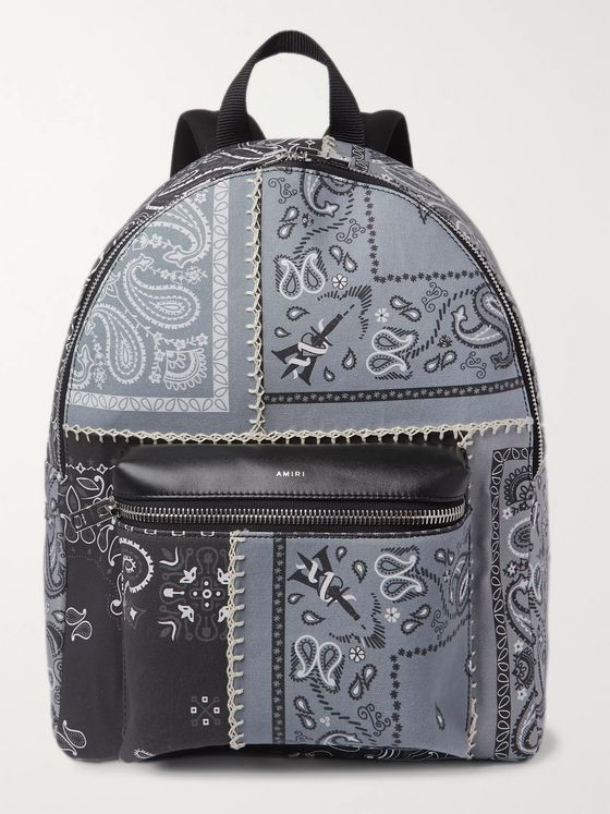 AMIRI Bandana-Print Leather-Trimmed Canvas Backpack