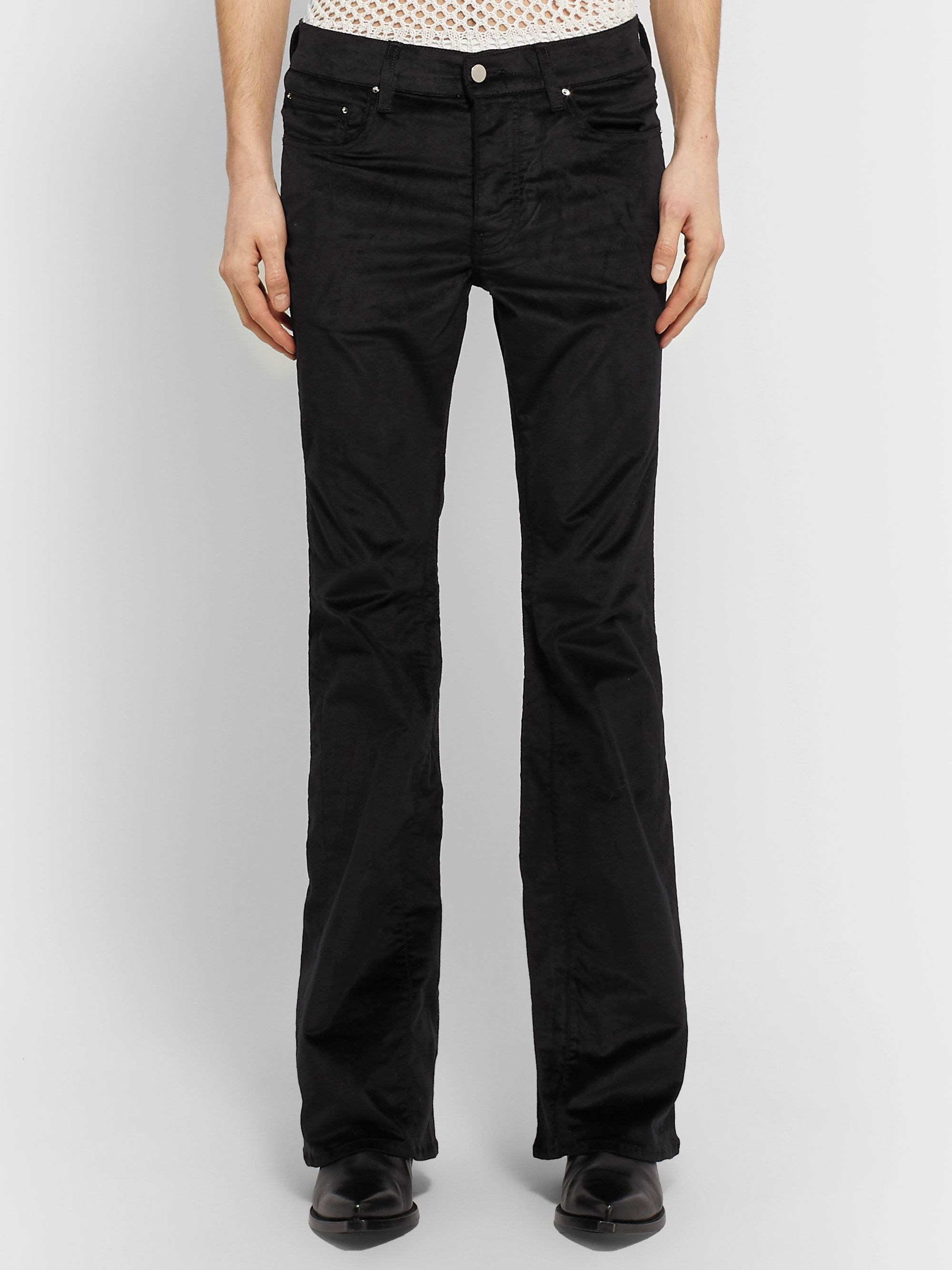 AMIRI Stack Skinny-Fit Flared Cotton-Blend Velvet Trousers