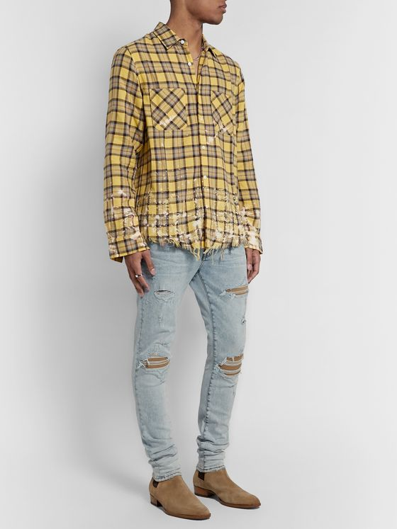 AMIRI MX1 Skinny-Fit Suede-Panelled Distressed Stretch-Denim Jeans