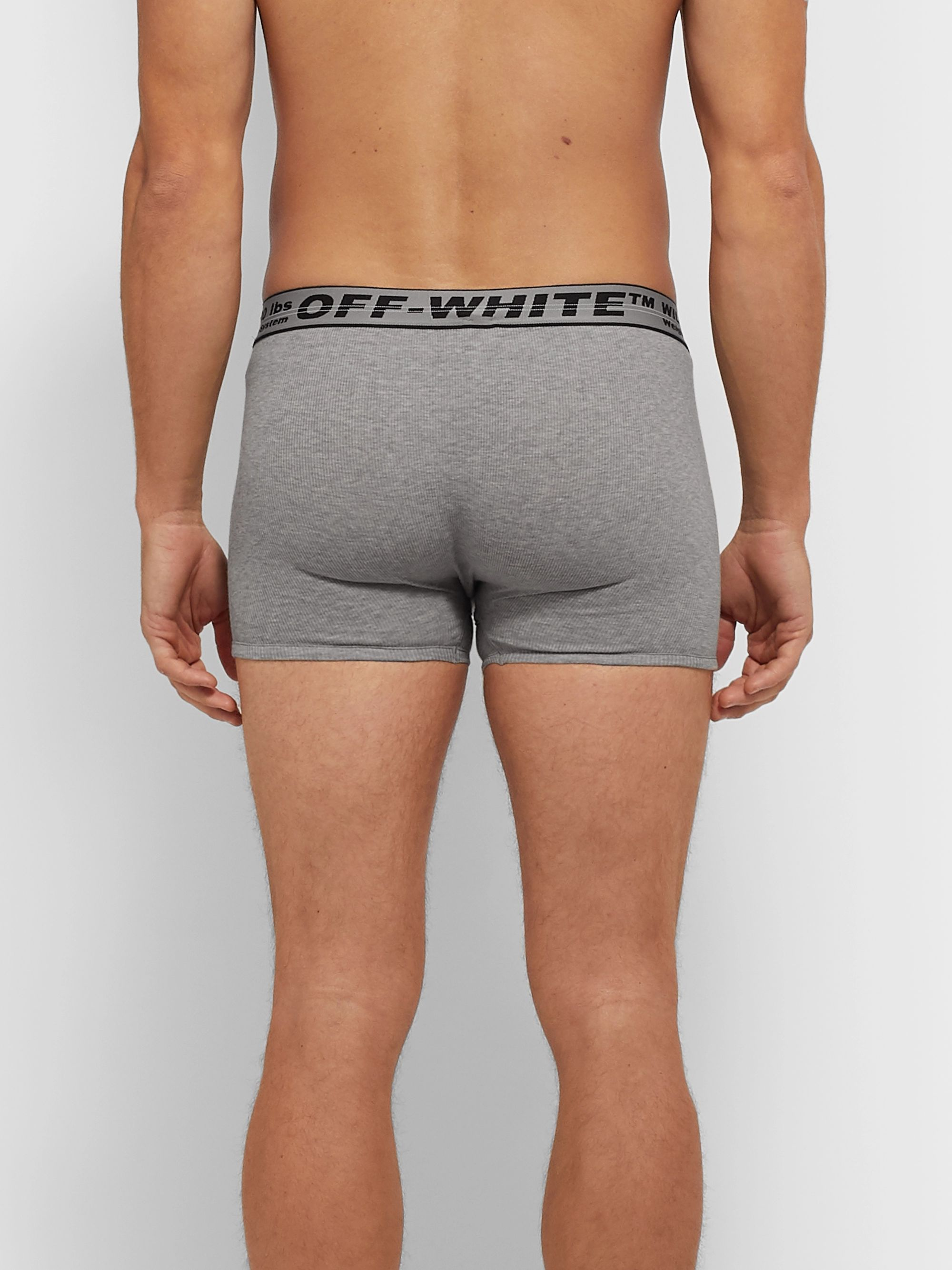 Off-White Three-Pack Ribbed Mélange Stretch-Cotton Boxer Briefs