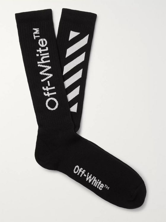 Off-White Ribbed Logo-Intarsia Stretch Cotton-Blend Socks