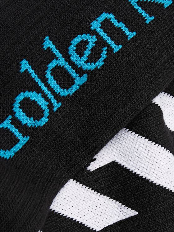 Off-White Logo-Intarsia Ribbed Cotton-Blend Socks