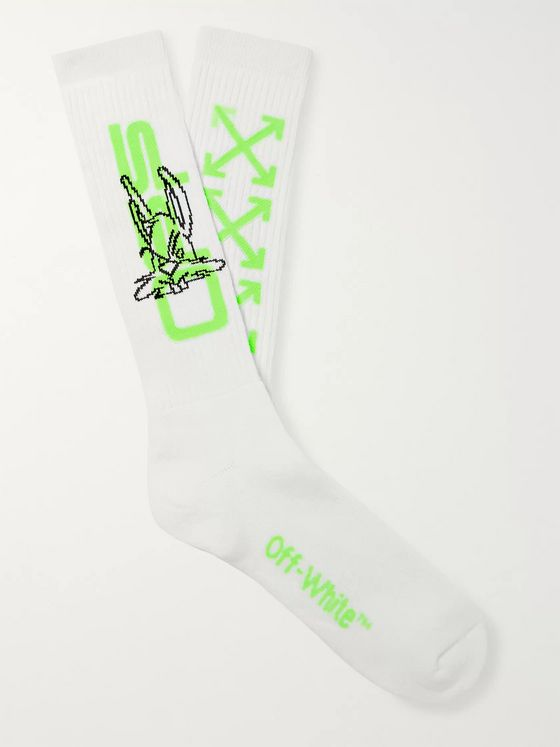 Off-White Harry the Bunny Logo-Intarsia Ribbed Cotton-Blend Socks