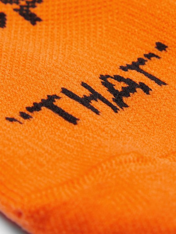 Off-White Logo-Intarsia Stretch-Knit No-Show Socks
