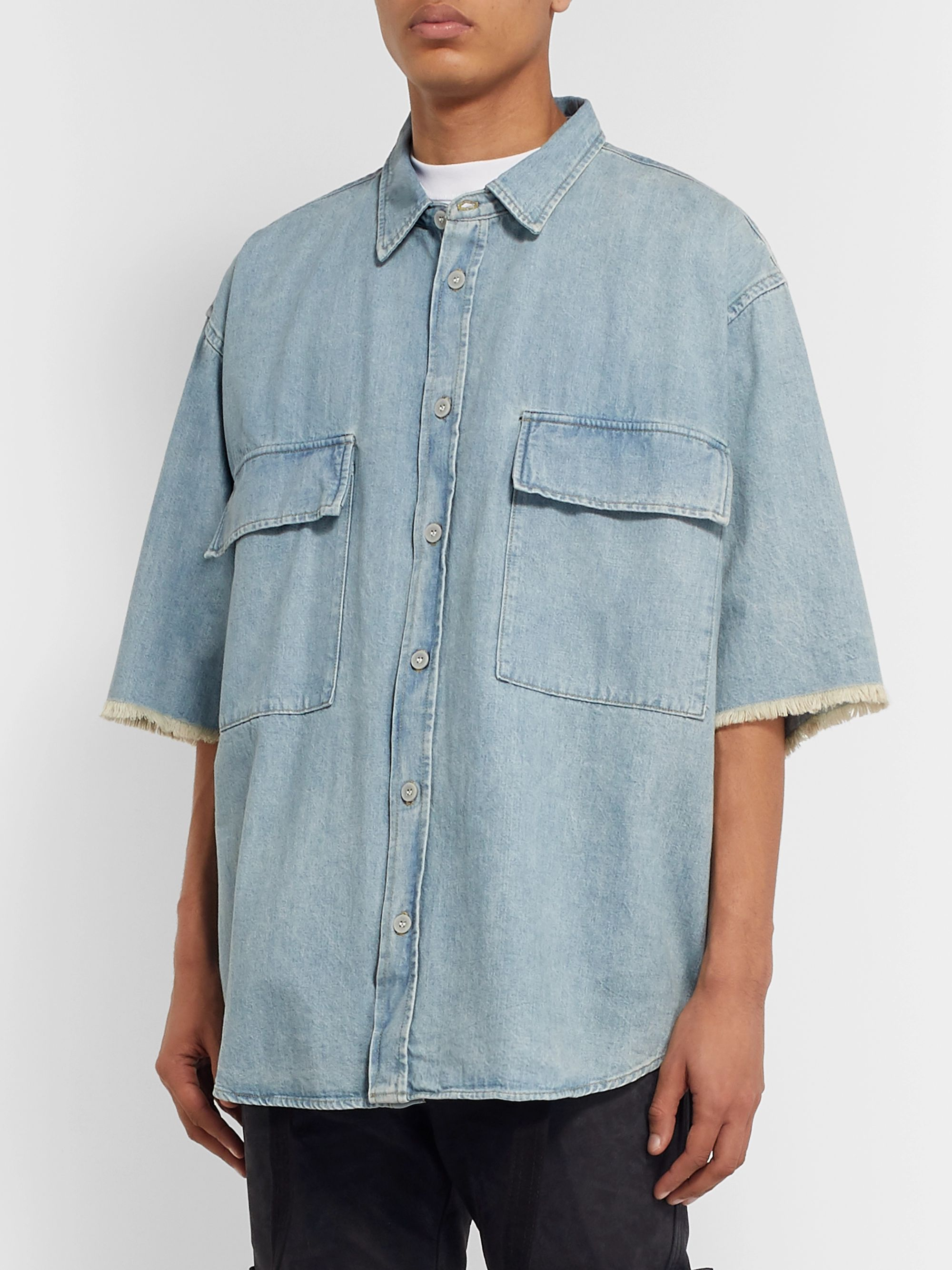 Fear of God Oversized Frayed Washed-Denim Shirt