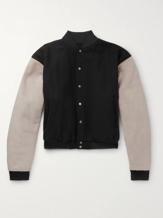Fear of God Appliquéd Suede-Panelled Wool-Blend Bomber Jacket