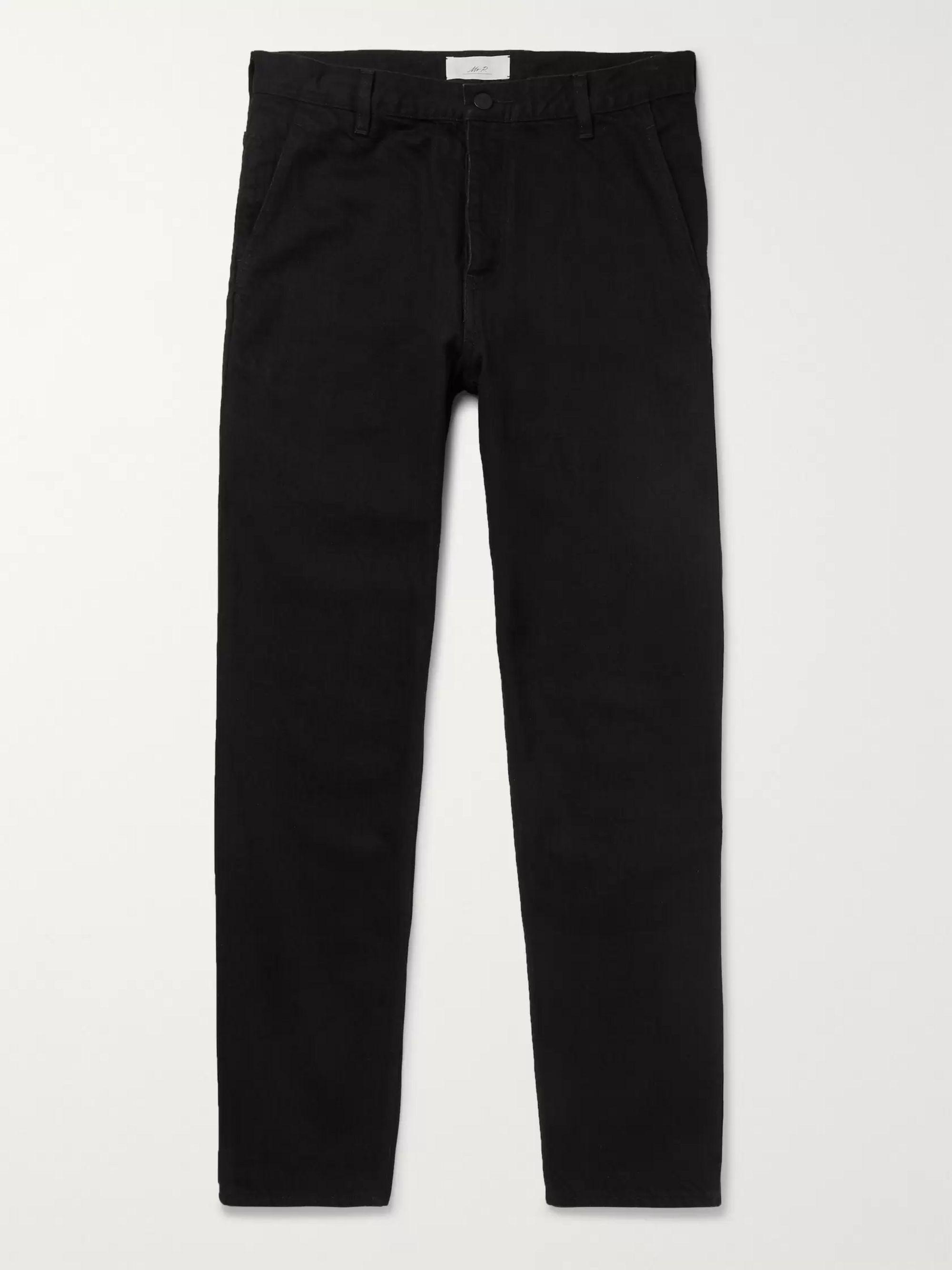 Mr. P Black Tapered Selvedge Denim Jeans,Black