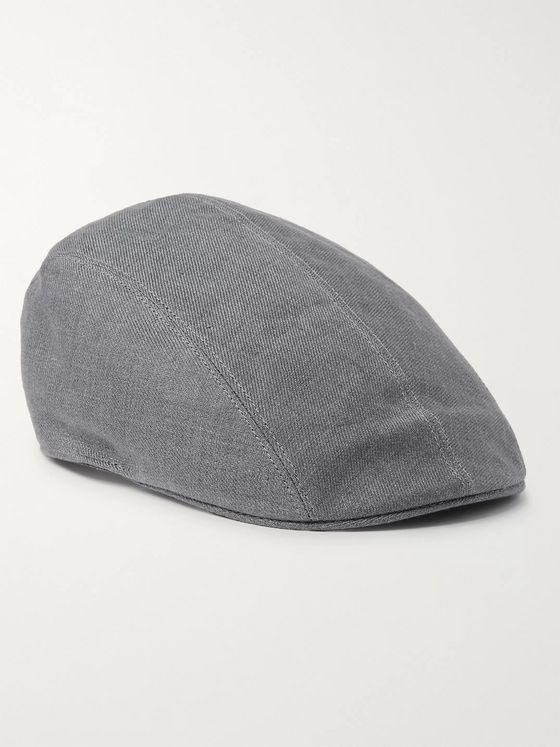 Brunello Cucinelli Leather-Trimmed Mélange Linen-Twill Flat Cap