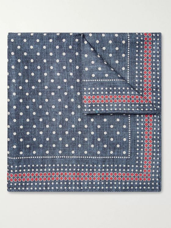 Brunello Cucinelli Polka-Dot Silk Pocket Square