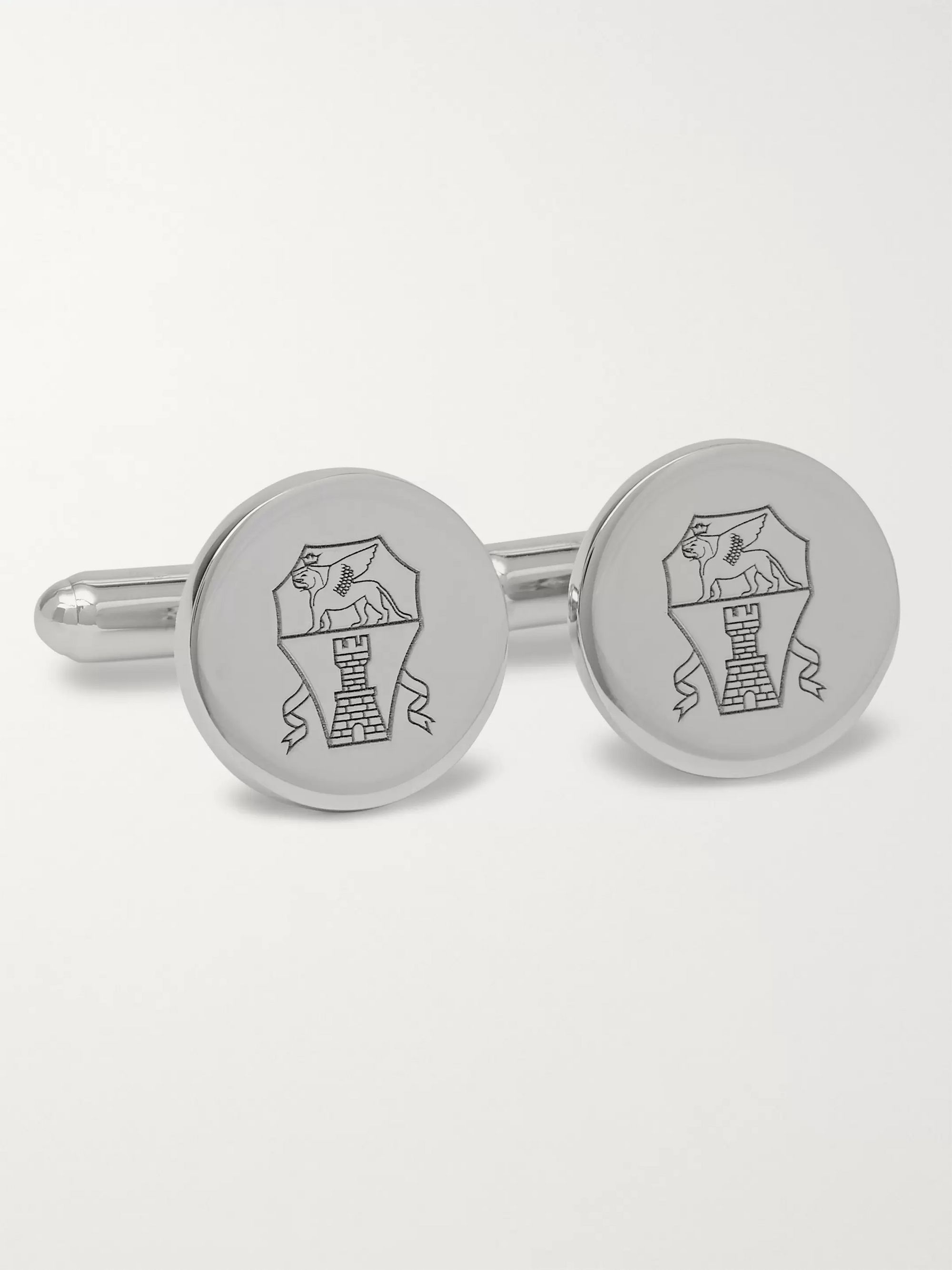 Brunello Cucinelli Engraved Sterling Silver Cufflinks