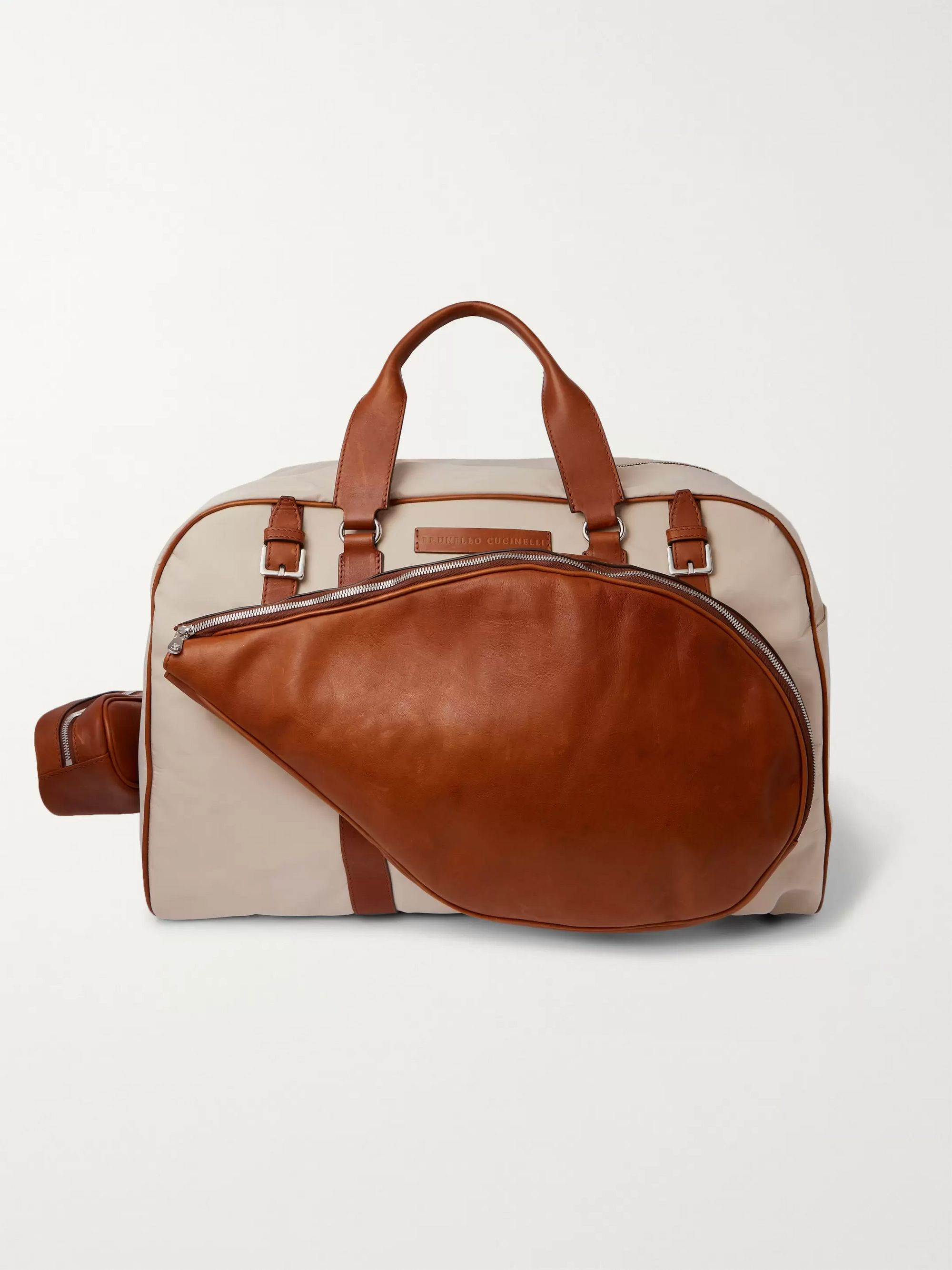 Brunello Cucinelli Full-Grain Leather-Trimmed Canvas Holdall