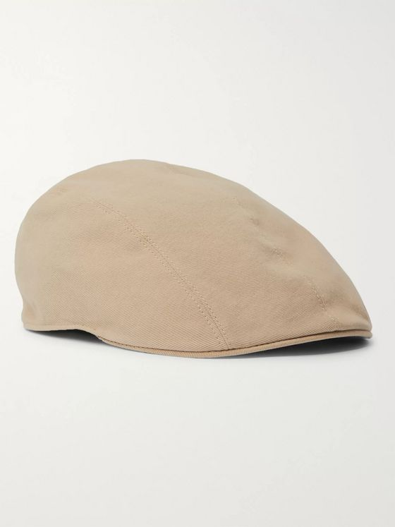 Brunello Cucinelli Leather-Trimmed Cotton-Twill Flat Cap