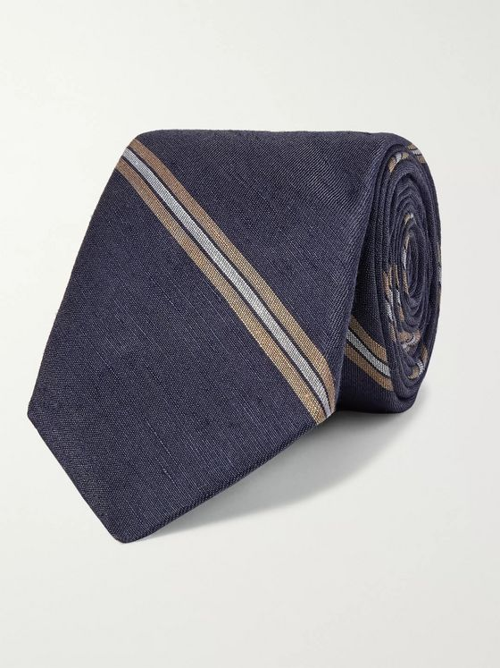 Brunello Cucinelli 7.5cm Striped Linen and Silk-Blend Tie