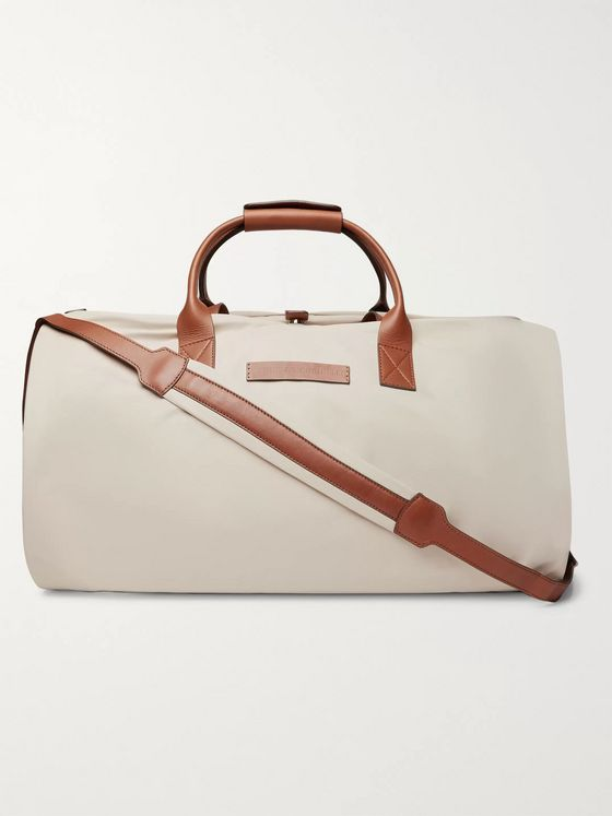 Brunello Cucinelli Leather-Trimmed Nylon Holdall With Detachable Garment Bag