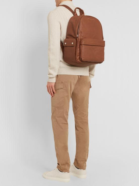 Brunello Cucinelli Full-Grain Leather and Suede Backpack