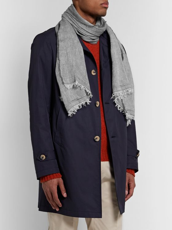 Brunello Cucinelli Fringed Linen and Cashmere-Blend Scarf
