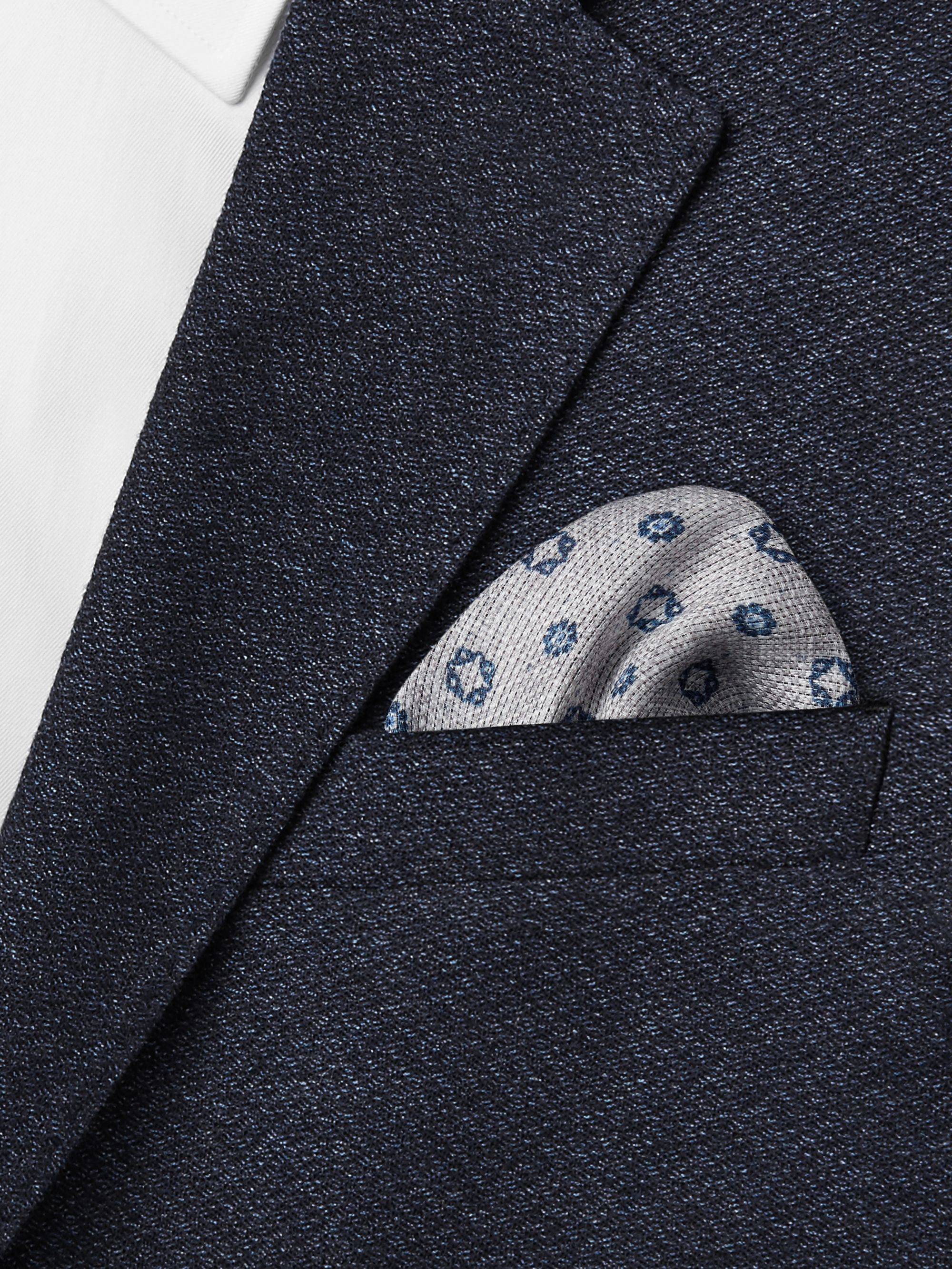 Brunello Cucinelli Printed Mélange Linen and Cotton-Blend Pocket Square