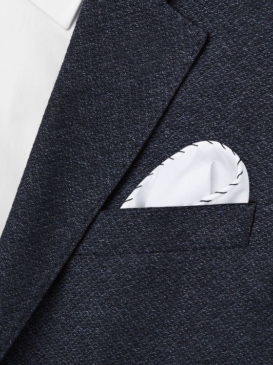 Brunello Cucinelli Contrast-Stitched Cotton Pocket Square