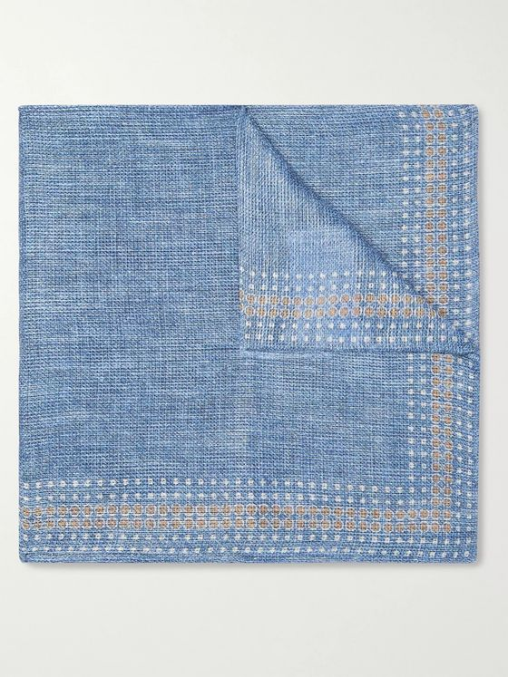 Brunello Cucinelli Polka-Dot Linen and Cotton-Blend Pocket Square
