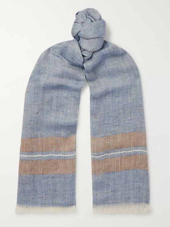 Brunello Cucinelli Fringed Striped Linen, Silk and Cashmere-Blend Scarf