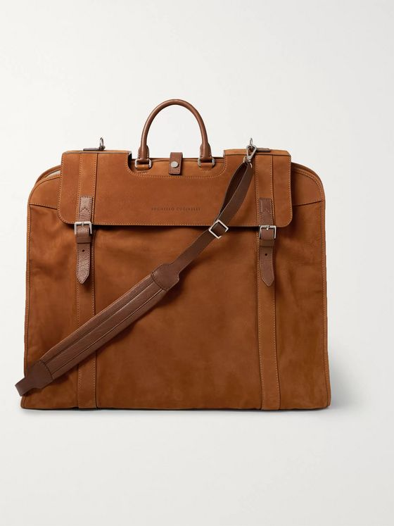 Brunello Cucinelli Leather-Trimmed Nubuck Suit Carrier