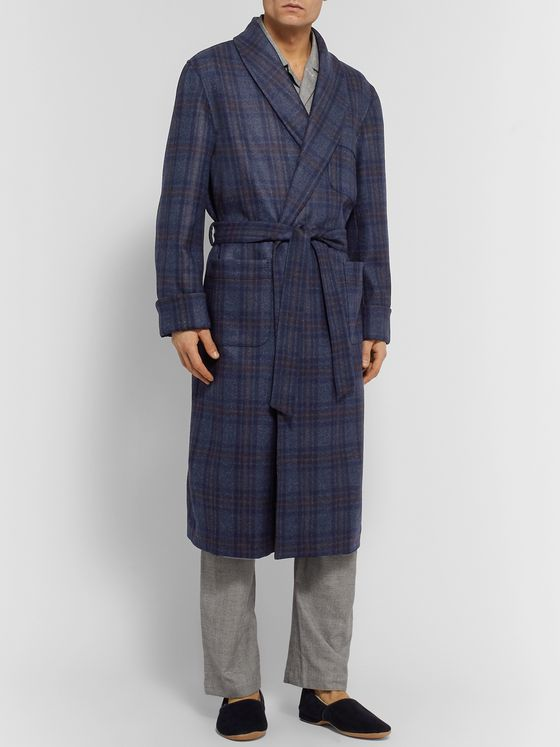 Loro Piana Julien Checked Cashmere Robe