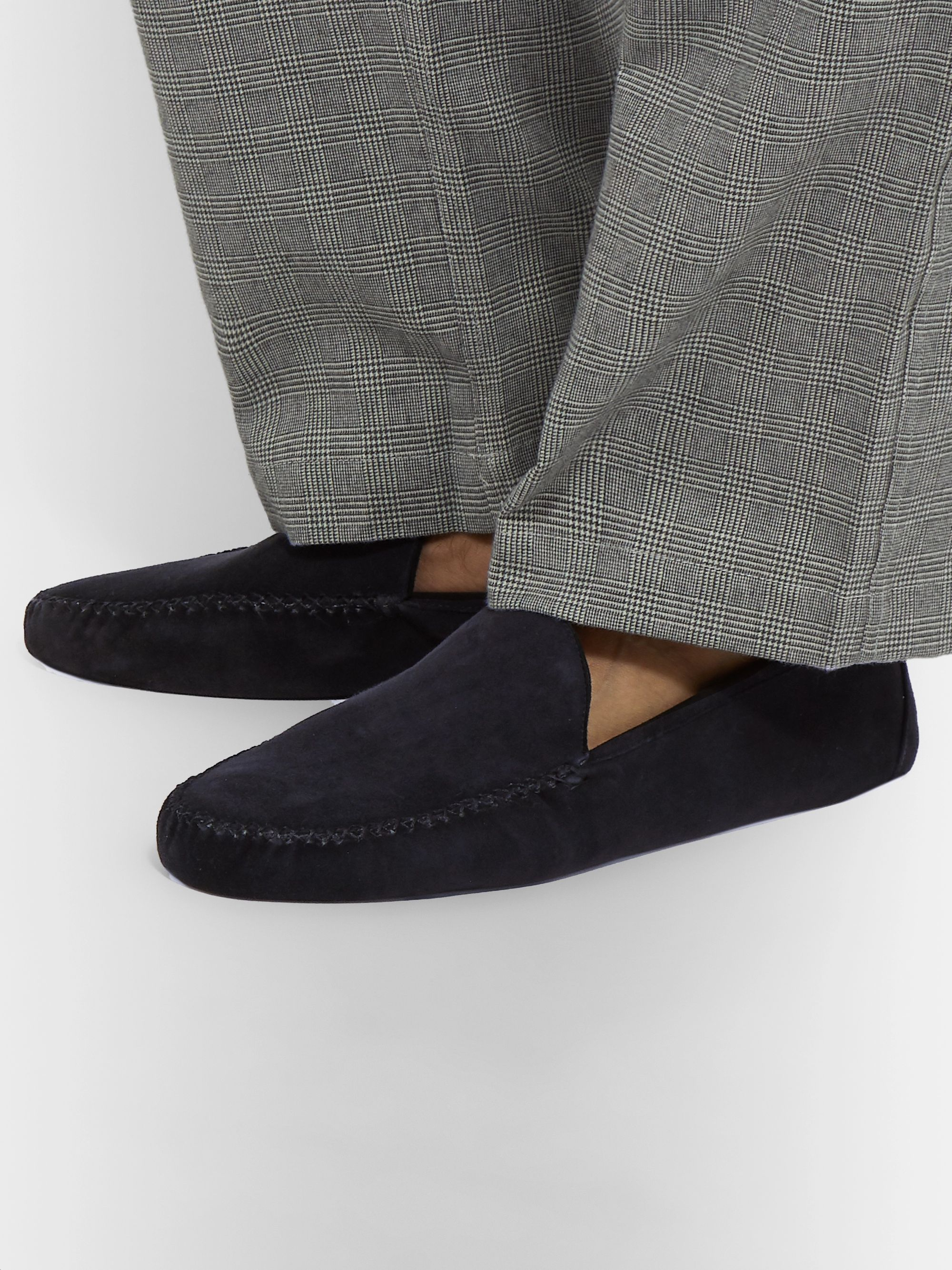 Loro Piana Maurice Cashmere-Lined Suede Slippers