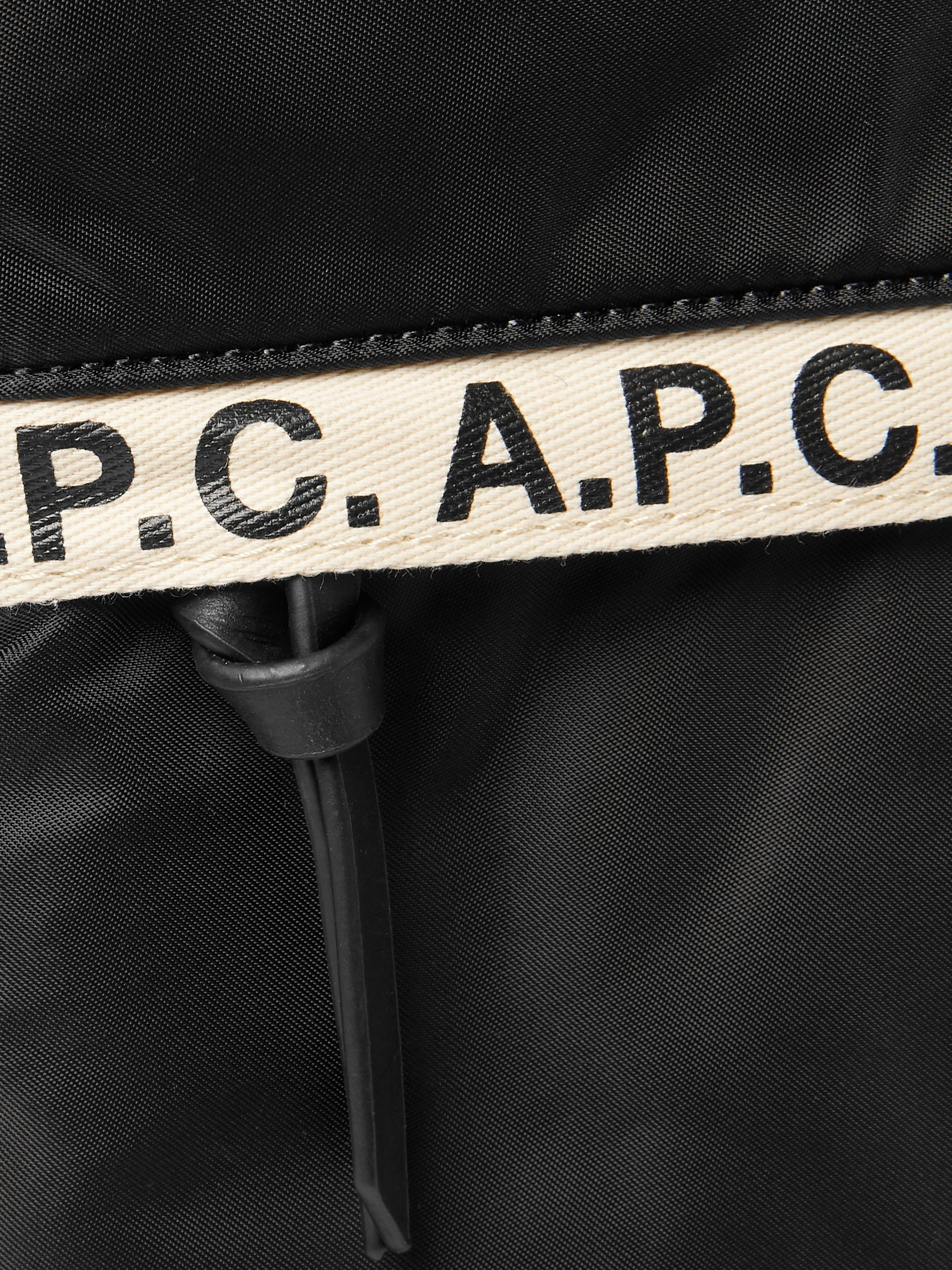 A.P.C. Logo-Print Tape-Trimmed Nylon Messenger Bag