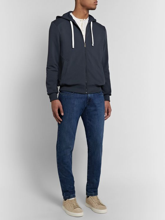 Ermenegildo Zegna Basic Loopback Cotton-Jersey Zip-Up Hoodie