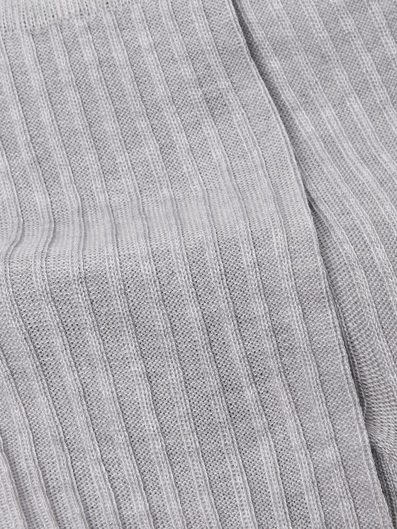 Ermenegildo Zegna Ribbed Cotton-Blend Socks