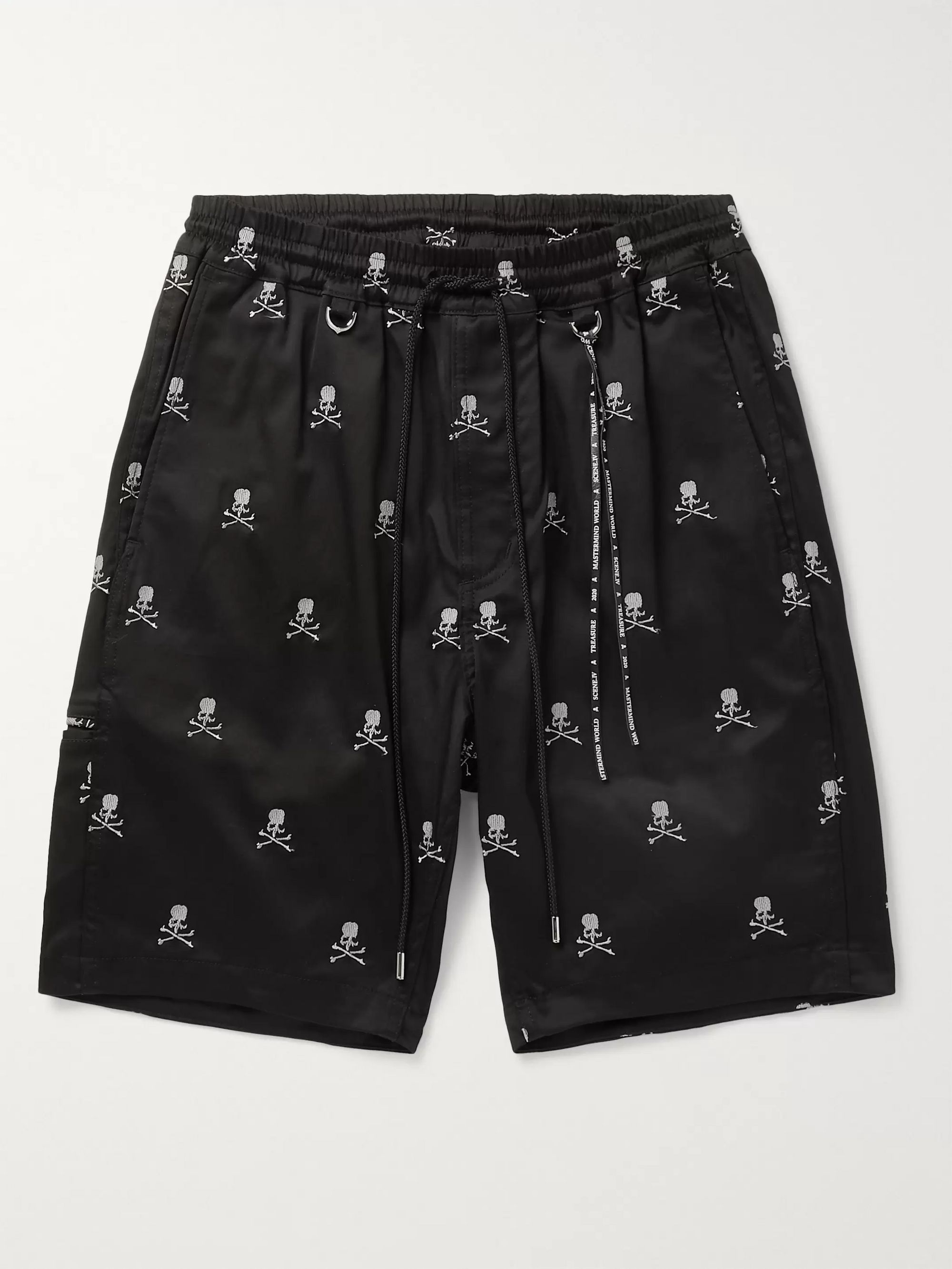 MASTERMIND WORLD Pleated Logo-Embroidered Cotton-Blend Twill Drawstring Shorts