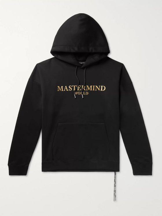 MASTERMIND WORLD Oversized Metallic Logo-Appliquéd Cotton-Jersey Hoodie